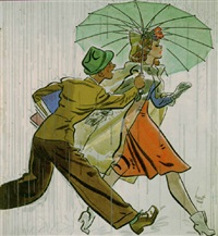 man holding umbrella for fashionable woman by earl oliver hurst