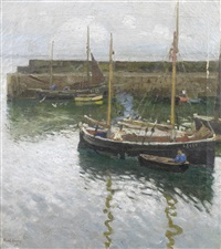 boats at newlyn harbour by harold harvey