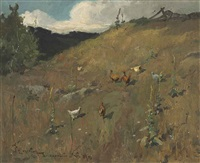 landscape with chickens by willard leroy metcalf