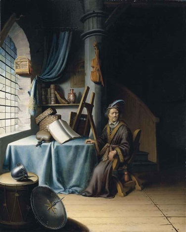 a scholar in his study by gerrit dou