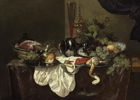 a roemer, a bread roll, a peeled lemon, a langoustine and a ham on pewter plates, with an upturned pewter jug, grapes and a lemon in a wan-li kraak porcelain bowl, a tall wine glass and a cup and cover on a partially draped table by abraham van beyeren