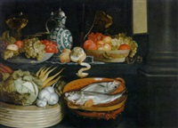 a basket of vegetables, fish in a terracotta colander, bowls of fruit, a peeled lemon, a roemer and a bart manndrug by cornelis jacobsz. delff