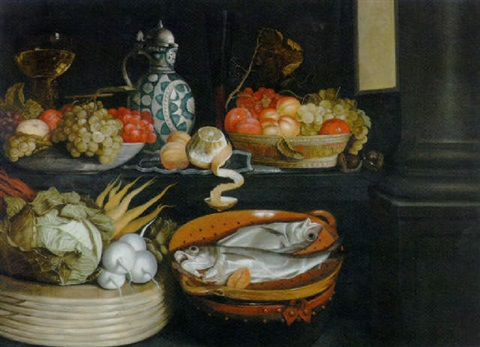 a basket of vegetables fish in a terracotta colander bowls of fruit a peeled lemon a roemer and a bart manndrug by cornelis jacobsz delff
