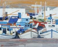 soleil orange sur le port, grèce by ginette rapp