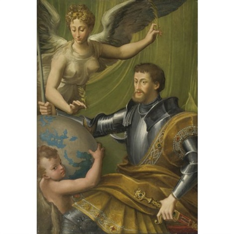 the emperor charles v receiving the world collab wstudio by parmigianino