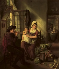 a family in an interior with a dog nearby by adriaen de lelie