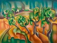 landscape (+ still life; 2 works) by zoe actypi