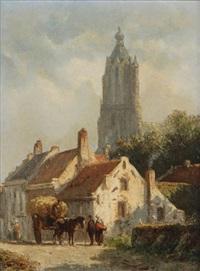 ville en hollande animé de figures près d'un chariot à foin avec église gothique à l'arrière-plan by adrianus eversen