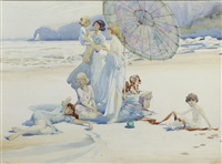 family on a beach by charles sims