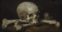 a memento mori with a skull and crossbones by philips gysels