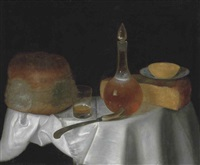 cheese, bread, a glass of beer and a decanter of wine on a draped table by george smith of chichester