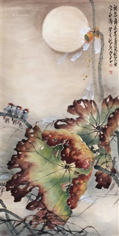 月影残荷 立轴 设色纸本 ( withered lotus under moon on a windy night) by zhao shaoang