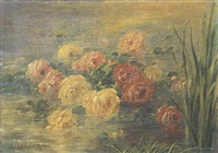 jetée de roses dans la mare by pierre garnier
