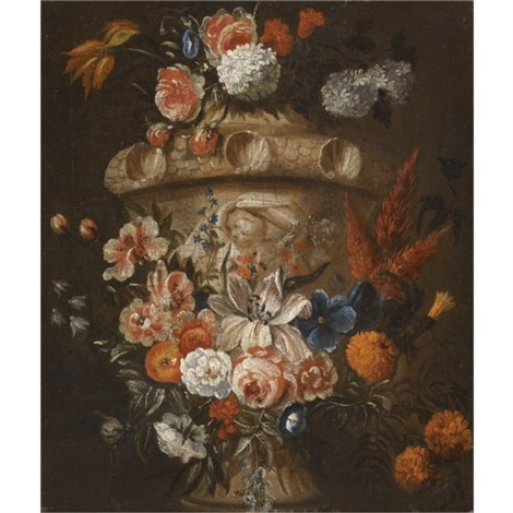 still lifes with garlands of roses lilies tulips and other flowers decorating stone rilievo urns pair by gaspar pieter verbruggen the younger