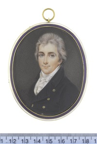 the hon. peniston lamb (1770-1805), wearing blue coat, white waistcoat, frilled chemise, stock and tied cravat, his hair lightly powdered by john smart the younger