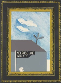 picture of melrose avenue in an ornate gold frame, from: a hollywood collection by david hockney