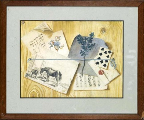 Trompe lOeil of a dirk stoop print, sheet music and other