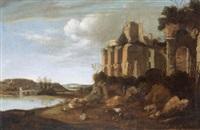 flusslandschaft mit ruinen by horatius de hoch