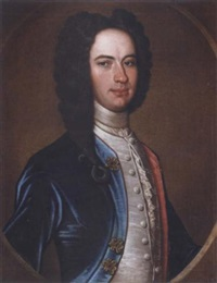 portrait of a gentleman wearing a blue coat and a white waistcoat by richard waitt
