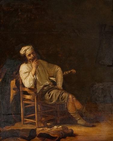interieur mit offizier, stiefeln und gitarre by simon kick