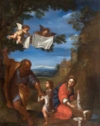 le repos de la sainte famille, dit la laveuse. la vierge lave des linges que saint joseph donne à deux anges afin qu'ils les mettent à sécher sur les branches d'un arbre by francesco albani