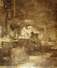 a man in interior (recto), portrait of a man with hat (verso) by jozef israëls