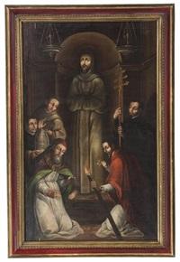 el papá nicolás v ante el cadaver de san francisco de asís by juan de correa
