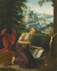 the penitent saint jerome in a landscape by antwerp school