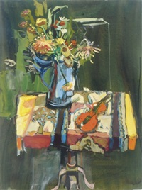 red violin with blue teapot by mariana edna volz