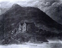 a view of carlingford castle by thomas james mulvany