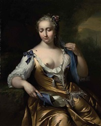 a lady in a landscape with a fly on her shoulder: an allegory of touch by frans van der myn
