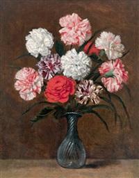nelken und eine andere blume in einer venezianischen glasvase by philippe de marlier
