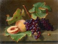 nature morte aux raisins et aux pêches by ange louis guillaume lesourd-beauregard