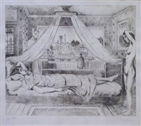 femme alitée et femme nue by paul delvaux