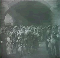 'the gate of goodbye' an allegorical composite  image & preparatory images by francis james mortimer