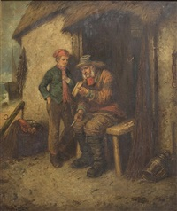 outside a fisherman's cottage with man and young boy by mark william langlois