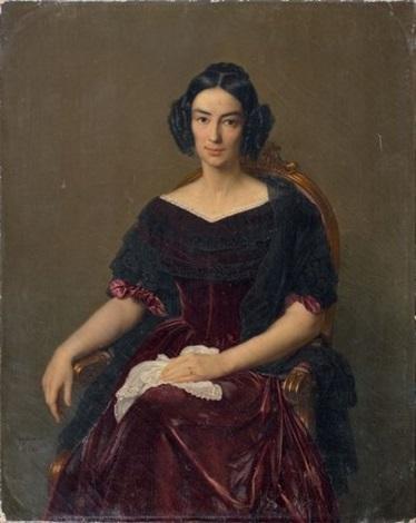 portrait de la comtesse caroline de vergès née caroline brochant de villliers 1806 1860 by françois louis dejuinne