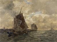 fishing boats at mole by andreas dirks