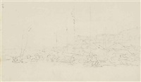 the waterfront at canton; chinese landscape; and a fort at macao (3 works) by george chinnery