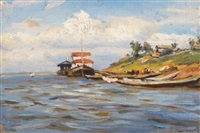 sunny day on the volga by manuil (emmanuil, manuk) aladzhalov