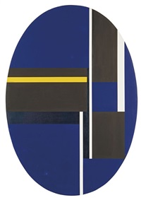 ellipse with blacks, blue, and yellow by ilya bolotowsky