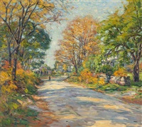 figure walking along a tree-lined street by frank townsend hutchens