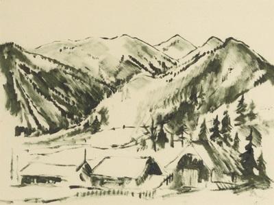 häuser in gebirgslandschaft by friedrich (fritz) aduatz