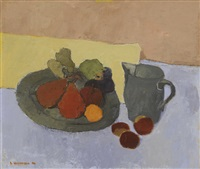 still life with pears and plums by alexey krasnovsky
