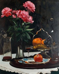 still life of flowers, fruit and claret by harold h. piffard