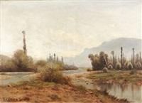 paysagiste et musicien, cours d'eau au pied de la montagne by g. peraccio