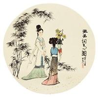 漱玉词意图 镜心 纸本 by liu danzhai