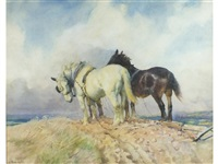 two shire horses and a ploughman in an open landscape by lucy elizabeth kemp-welch