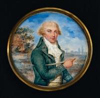 portrait de samuel turner en redingote verte tenant une cravache sous le bras, vu dans un paysage by andré judlin-kessler