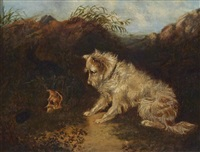 two terriers ratting; and a decorative painting of a dog in an interior (a set of three) by george armfield